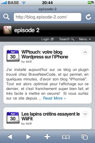 blog.episode-2.com avec plugin WPTouch, sur l\'iPhone